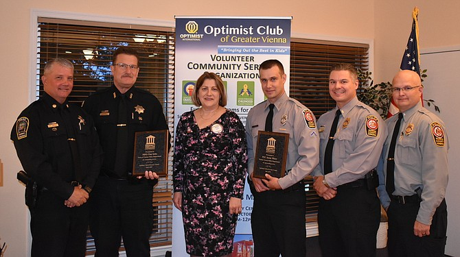 The Respect for Law Award winners pictured with their plaques after the ceremony. (From left: Deputy Chief Dan Janickey, MPO Tim Seitz, Optimist Club Vice President of Community Anna Ryjik, PFC Jason Mizer, Second Lieutenant Brian Gaydos, Lieutenant David J. White)