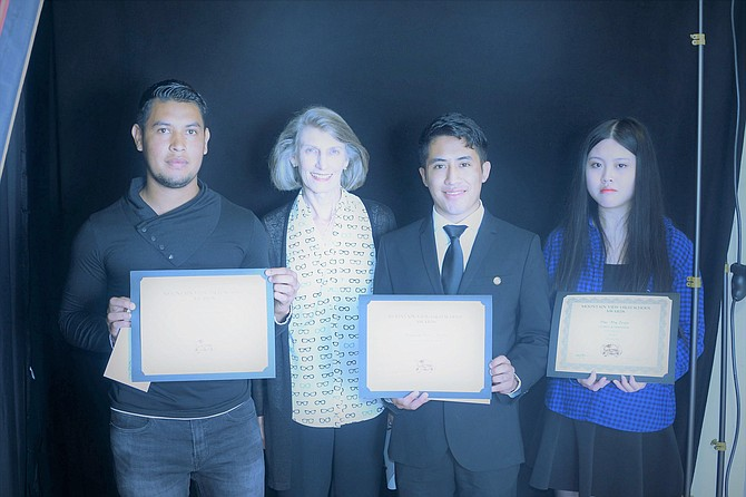 Senior awards assembly at Mountain View High School: From left – Jose Cantarero Ramos, Laura Greenspan (Closet representative), Brayan Perez Brito, and Duc My Tran.