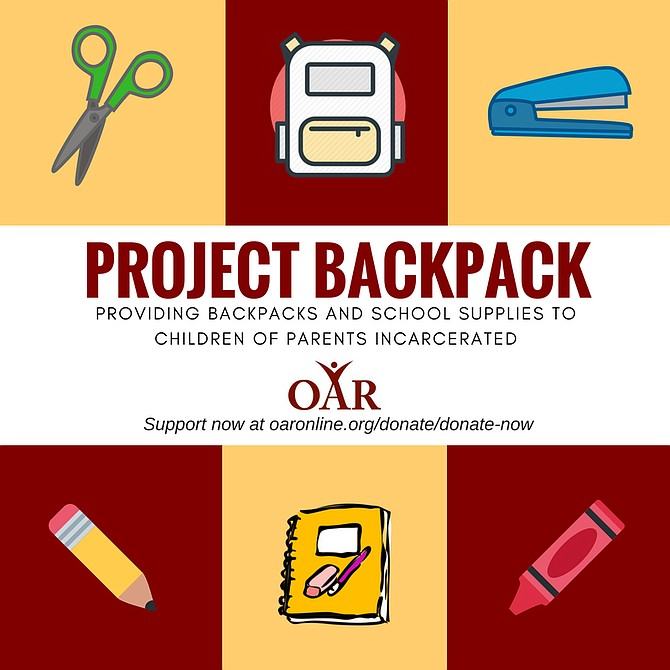 OAR is hosting a new program for the first time this year called Project Backpack which will give school supplies to the children of parents incarcerated in the Arlington County Detention Facility.