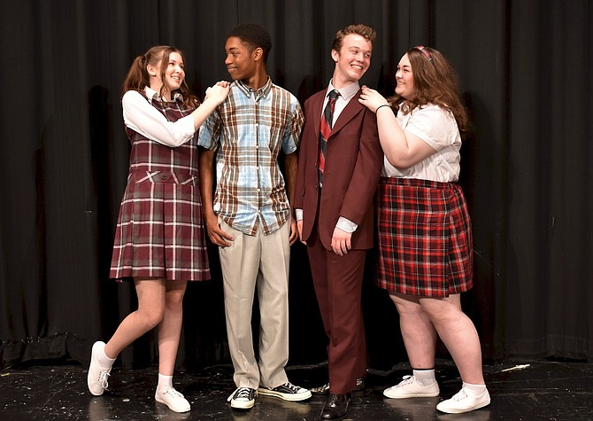 "Rehearsing a scene from ""Hairspray"" are (from left) Kaya Trippel, Jalin Dew, John Henry Stamper and Meredith Kilmartin."