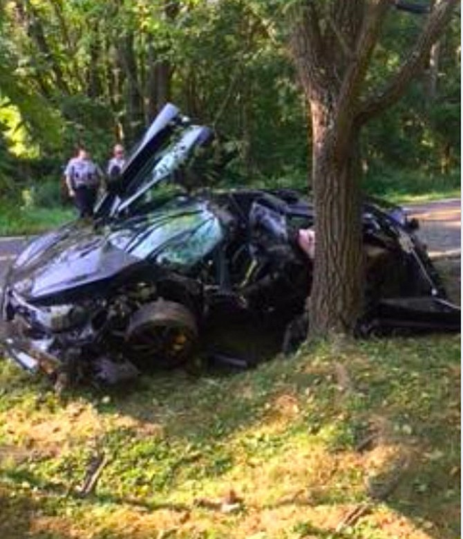 McLaren 720S, costing around $300,000, was destroyed Saturday in Great Falls. The driver was taken to the hospital with non-life threatening injuries.