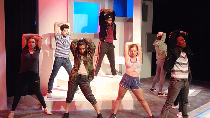"The cast of ""Pippin"" in rehearsals, presented by the Monumental Theatre Company."