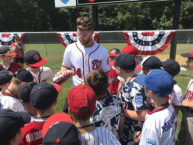 Bryce Harper participates in dedication of  an All-Star Complex bearing his name at Fred Crabtree Park in Herndon. Harper won the MLB Home Run Derby on Monday night.