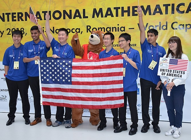 Team USA, the winner of the 59th International Mathematical Olympiad.  Adam Ardeishar, of McLean, is second from left.