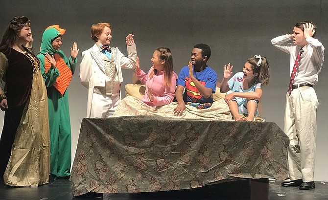 Rehearsing a scene from Chantilly's children's play are (from left) Samantha York, Lauren Lagasse, Trevor Belsky, Claire Yang, Aaron Aldridge, Micaela O'Rourke and Jared Belsky (as the dad).