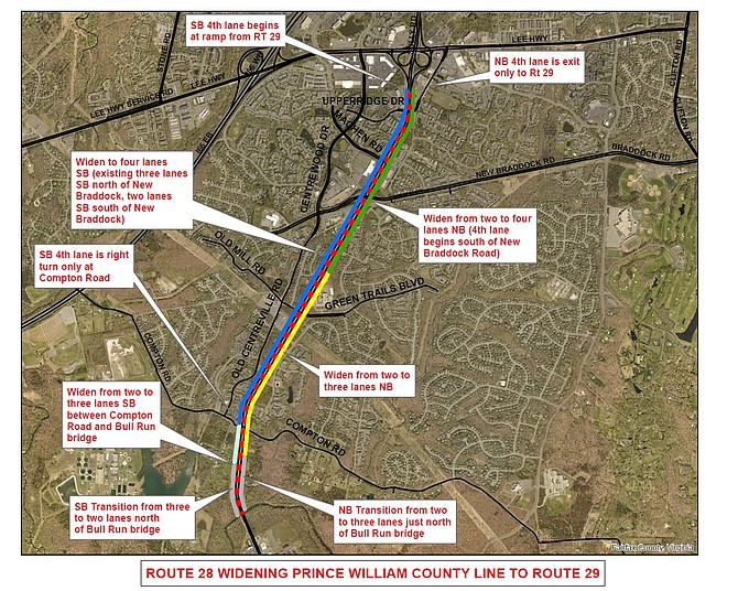 The Route 28 widening project's current, preferred, design concept is a hybrid of six, seven and eight lanes.