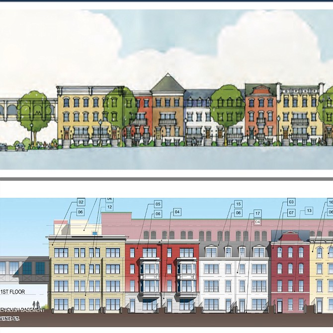 The top photo is a rendering of the proposed Comstock Center Street units closest to Elden Street. Comstock Herndon Venture LLC provided it to the Town of Herndon in 2017 as part of their Redevelopment/ Request for Proposals. The bottom photo is a rendering of the proposed Center Street units closest to Elden Street submitted by Comstock June 18, 2018, during their HPRB Application for Certificate of Appropriateness.