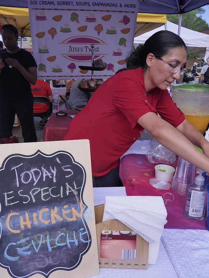 "The especial for Ana Garcia's stand at the market today is chicken ceviche ""for people who don't like seafood."""