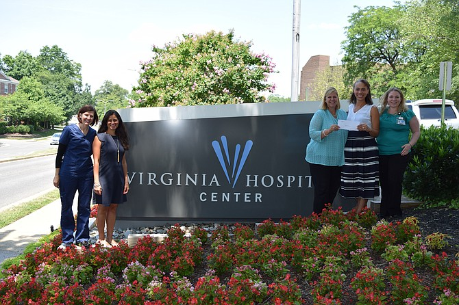 From left: Lesley Daigle, telemedicine coordinator, Outpatient Clinic; Michelle Altman, patient care director, Outpatient Clinic; Betsy Frantz, president, Virginia Hospital Center Foundation; Jennifer Myers, executive director, Jennifer Bush-Lawson Foundation; and Taryn Overman, senior director, Patient Care Services.
