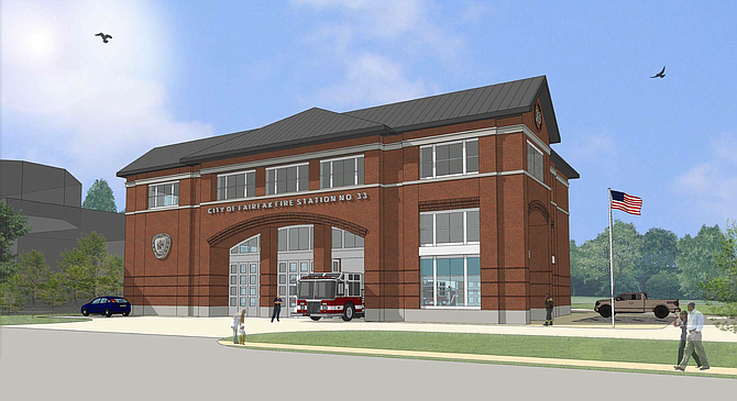 Architect's rendering of the new Fire Station 33, as seen from Fairfax Boulevard.