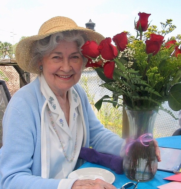 Gene Pauline Hine Ives with a recent Mother's Day bouquet.