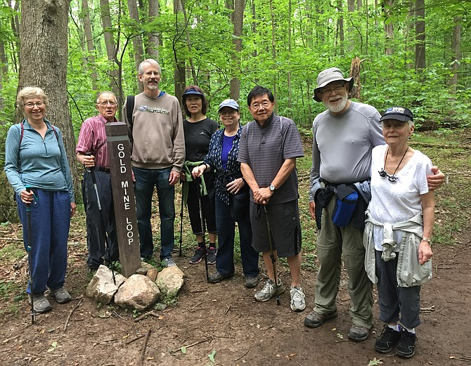 Participants in the Memorial Day Potomac Community Village Canal Walk are (from left) Sheila Taylor, Barry Taylor, Scott Brown, Judy Chung, Sheila Moldover, Fung-Lung Chung, Don Moldover and Valen Brown.