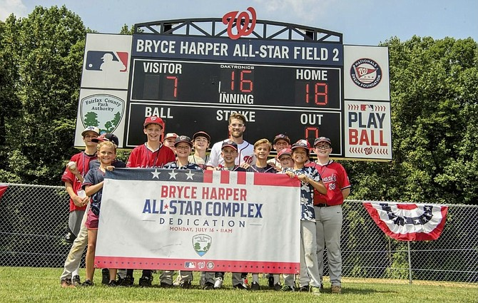 Before winning the Major League Baseball 2018 Home Run Derby later the same day, Bryce Harper of the Washington Nationals took time to open the newly renovated baseball fields at the Bryce Harper All-Star Complex at Fred Crabtree Park. A partnership with Major League Baseball, the Park Authority, and Reston Little League culminated with the opening of two upgraded baseball fields complete with new dugouts, batting cages, and lights for community use.