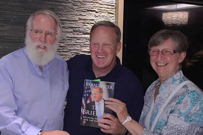 Author Sean Spicer with Gerald Chandler and Jan Bates.