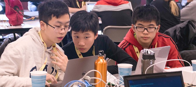 High school students participate at Hack BI, a computer programming competition hosted at Ireton in January.