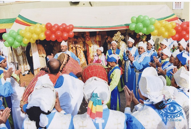 Mesrake Tsehay Kidus Teklehaymanot, a congregation in the Ethiopian Orthodox Tewahedo tradition of Christianity, celebrates a native Ethiopian saint.
