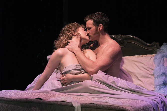 "Steffanie Leigh (Clara) and Claybourne Elder (Giorgio) star in ""Passion"" at Signature Theatre."