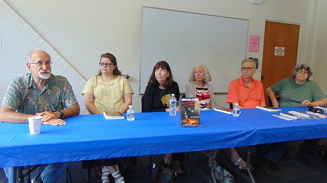 Writers from the Chesapeake Chapter of the Sisters in Crime (from left): Josh Pachter, Cathy Wiley, Robin Templeton, Karen Cantwell, Alan Orloff, and Donna Andrews.