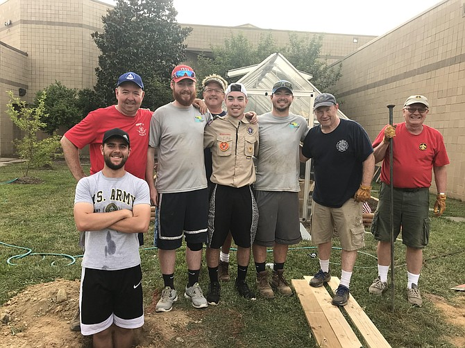 Connor Whalen's Eagle Scout Project volunteers included (from left): Phillip Schneider, Kevin Whalen, Matt Whalen, Jon Bitto, Connor Whalen, Ryan Whalen, Chris Doyle, and Alan Schneider.