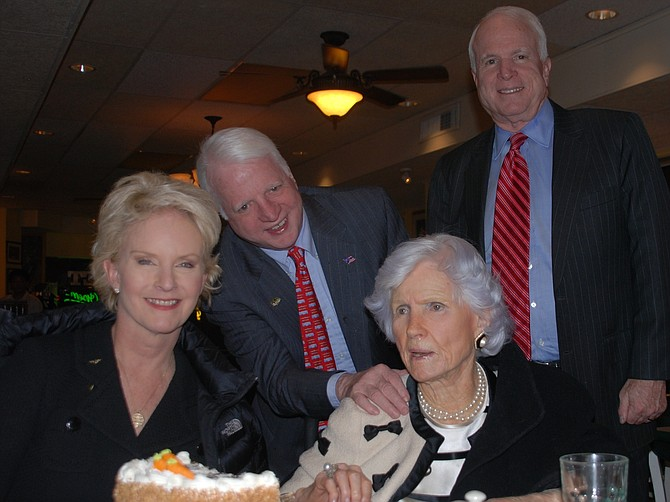 In February of 2011, John McCain, right, celebrated his mother Roberta's 99th birthday in Alexandria along with his wife Cindy and brother Joe McCain.