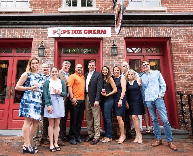 From left: Sabrina Porta, Chris Robinson, Rachel Lee, Michael Day, Tony Ayala, David Hawkins, Lindsay Underwood, Amanda Wallingford, Bob Martini, Joan Shannon, and John Shannon at Pop's Old Fashioned Ice Cream.