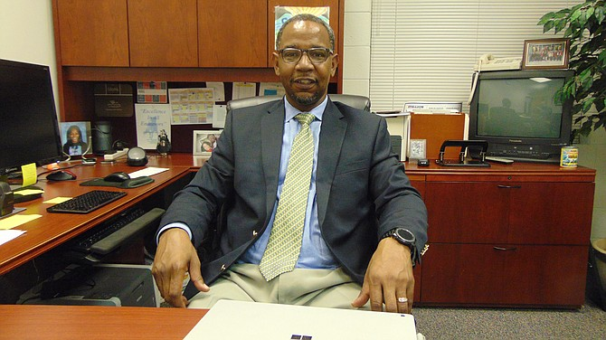 Gary Morris, new principal of South County High School, in his office.