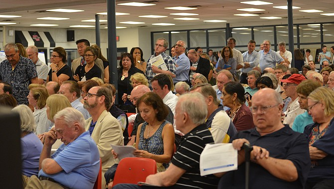 Having their say: Several hundred attended the first public meeting to discuss the VDOT proposal to test closures on the Georgetown Pike ramp to I-495. Next meeting, 7 p.m. on Thursday, Sept. 13, McLean High School, 1633 Davidson Road, McLean.
