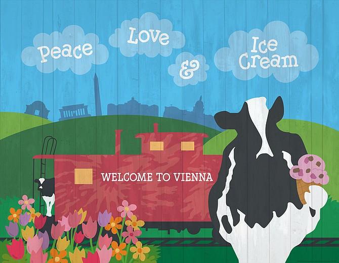 A new mural has a train and the familiar skyline that will resonate with local ice cream fans.