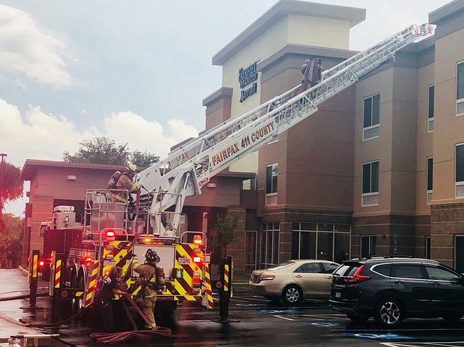 Fairfax County Fire and Rescue responded to a fire at a three-story hotel on Richmond Highway.