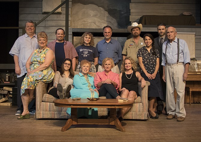 "Starring in LTA's production of ""August: Osage County"" are, front row, Gayle Nichols-Grimes as Mattie Fae Aiken, Carlotta Capuano as Ivy Weston, Diane Sams as Violet Weston, Nicky McDonnell as Barbara Fordham, and Elizabeth Keith as Karen Weston. Back row: Tom Flatt as Charlie Aiken, Greg Wilczynski as Little Charles Aiken, Camille Neumann as Jean Fordham, Michael Fisher as Bill Fordham, Paul Donahoe as Sheriff Deon Gilbeau, Katarina Frustaci as Johnna Monevata, Eric Kennedy as Steve Heidebrecht, and Fred C. Lash as Beverly Weston."