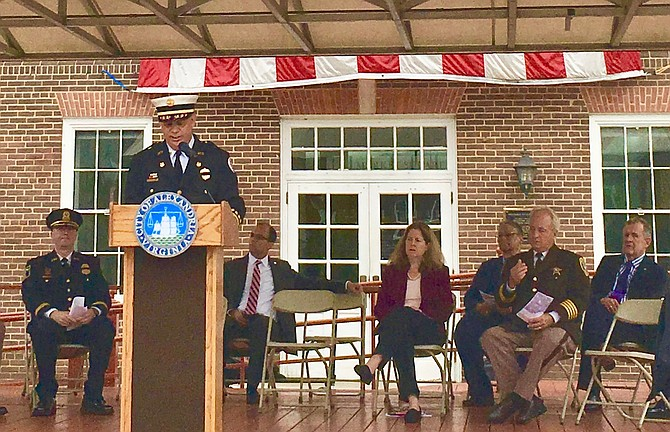 Alexandria Fire Chief Robert Dubé, who responded at the Pentagon on 9/11, speaks at the Tuesday commemoration ceremony.