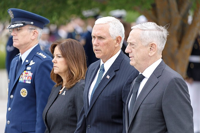 Vice President Mike Pence, second from right, is joined by Second Lady Karen Pence and Secretary of Defense James Mattis, right, at the National 9/11 Pentagon Memorial ceremony marking the 17th anniversary of the 2001 terror attacks. At left is Vice Chairman of the Joint Chiefs of Staff Gen. Paul Selva.