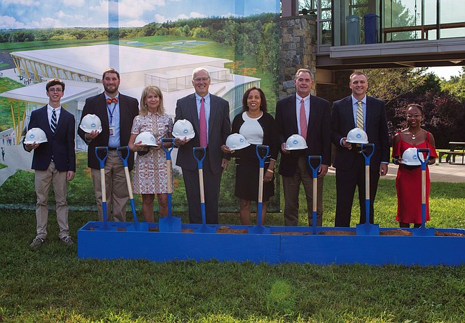 Potomac School dignitaries participate in the groundbreaking. From left: Matthew Giuliano '19, president of the Student Government Association; John Mathews, head of the Middle and Intermediate Schools; Nancy Powell, head of the Lower School; John Kowalik, head of school; Dr. Marjorie Brennan, chair of the Board of Trustees; Tim Jaeger, assistant head of school; Doug McLane, head of the Upper School; Daija Yisrael '19, vice president of the Student Government Association.