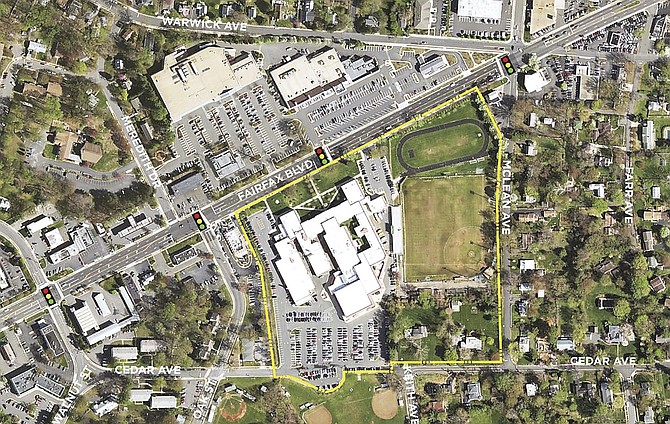 An aerial view of the current Paul VI High School site.