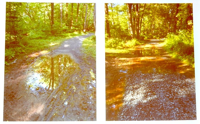 These photos show degradation of the gravel trail after a rain.