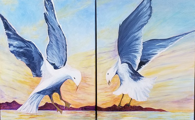Diving at Dusk - diptych, acrylic - by Linda Jones