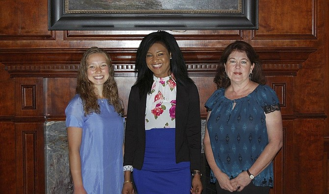 From left: Great Falls Friends & Neighbors Club Scholarship recipients Christina Gleason, Bernice Anyang, and Regina O'Brien.