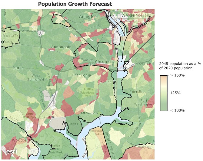 Over the next two-and-a-half decades, population is forecasted to grow substantially around Alexandria's periphery, and also along Route 1 and I-95. Sources: TPB's Regional Transportation Data Clearinghouse (rtdc-mwcog.opendata.arcgis.com), Esri, TomTom, U.S. Department of Commerce, U.S. Census Bureau.