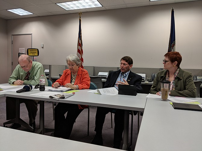 From left: Fairfax County General Registrar Gary Scott, Kate Hanley, Secretary of the Fairfax County Electoral Board, Board Chairman Stephen Hunt, and Vice-Chairman Bettina Lawton host members of the media at a meeting on Sept, 17.