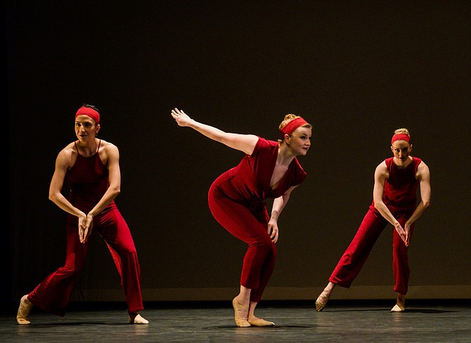 From left, Gin Dance Company dancers Therese Gahl, Hannah Church, and Alissa Huff.