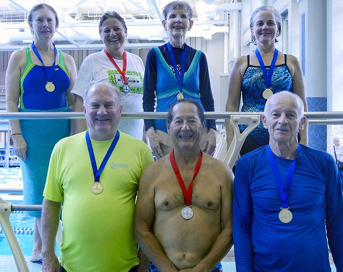 Medalists at the Northern Virginia Senior Olympics diving events Saturday, Sept. 15.  Duane Clayton-Cox from Burke (first row, left) won a blue ribbon in the 65-69 men's category.