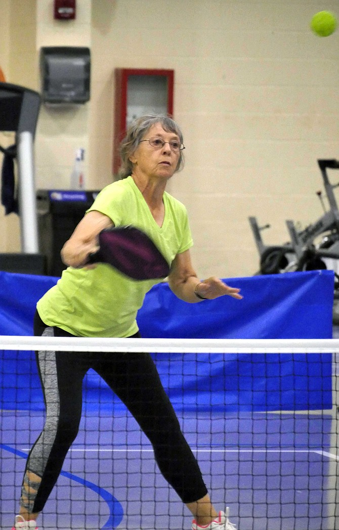 Beth Baynes of Alexandria plays in the NVSO mixed doubles pickleball competition, Sept. 24.