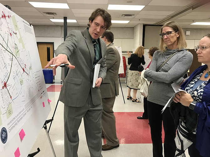 """Some ideas may be possible and doable; some may not,"" says Zachary Krohmal, Fairfax County Department of Transportation, to McLean residents Carol Dinion and Erin Thiebert."