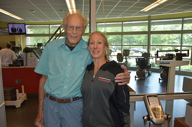 Dixon Hemphill with Laurie Strickland, fitness director at South Run Rec Center in Springfield.