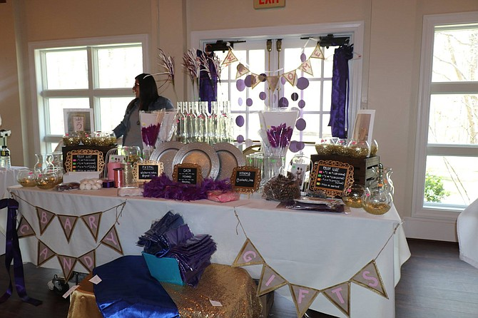 Table display of items for sale at April's Upcycle Wedding Fair at Rockwood Manor. Another fair is scheduled this month.