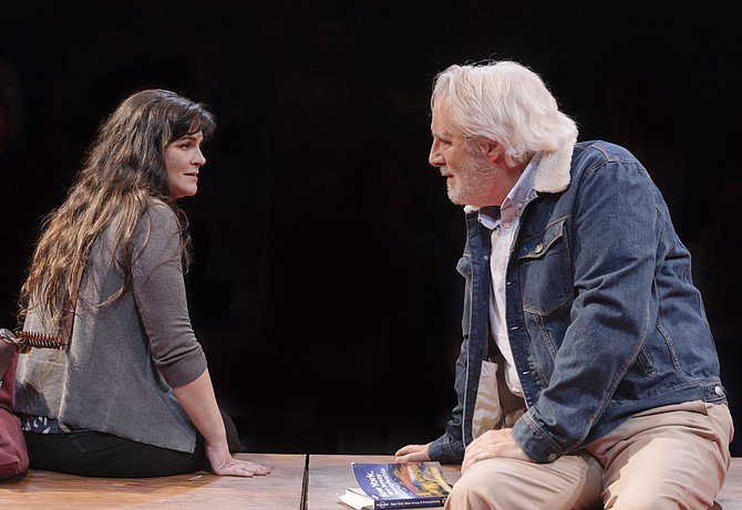 "Rachel Zampelli (Georgie) and Michael  Russotto (Alex) star in the D.C. premiere of ""Heisenberg"" at Signature Theatre in Arlington."