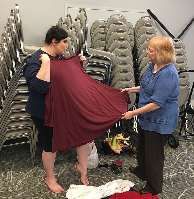 "Jillian Blair, who plays the role of Mama, discusses costume choices with director Laurie Freed at rehearsal for ""A Shayna Maidel"" opening at Congregation Har Shalom Thursday."