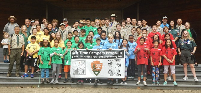 Gathering of all the troops at the 9th First Time Campers adventure at Wolf Trap Park.