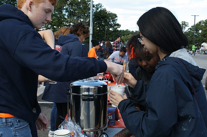 What's hot chocolate without marshmallows? At the West Springfield fundraiser, the hot chocolate was a popular place in the early morning hours on Saturday, Oct. 13.