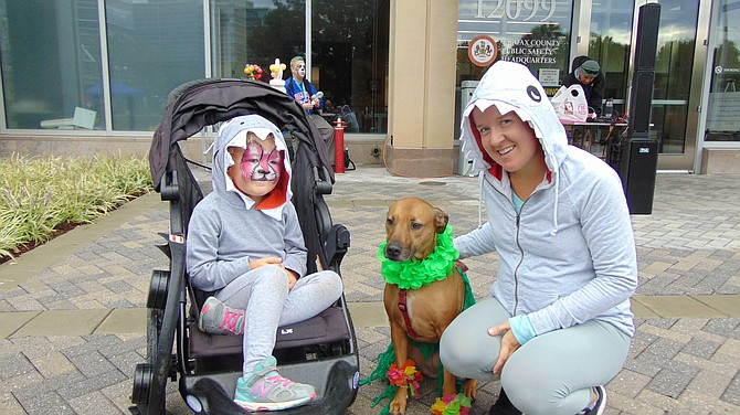 Shannon Johnson of Burke with her daughter Rose and dog Penny.